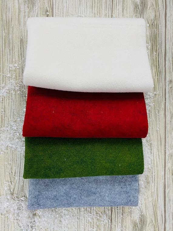 """2 Yard Holiday Bundle of Wool Blend Felt 1/2 Yard each, 18""""L x 36""""W, 4 Colors"""