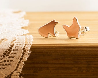 Earrings Fox Head Polished  brass, silhouettes Hand cut, jewelry