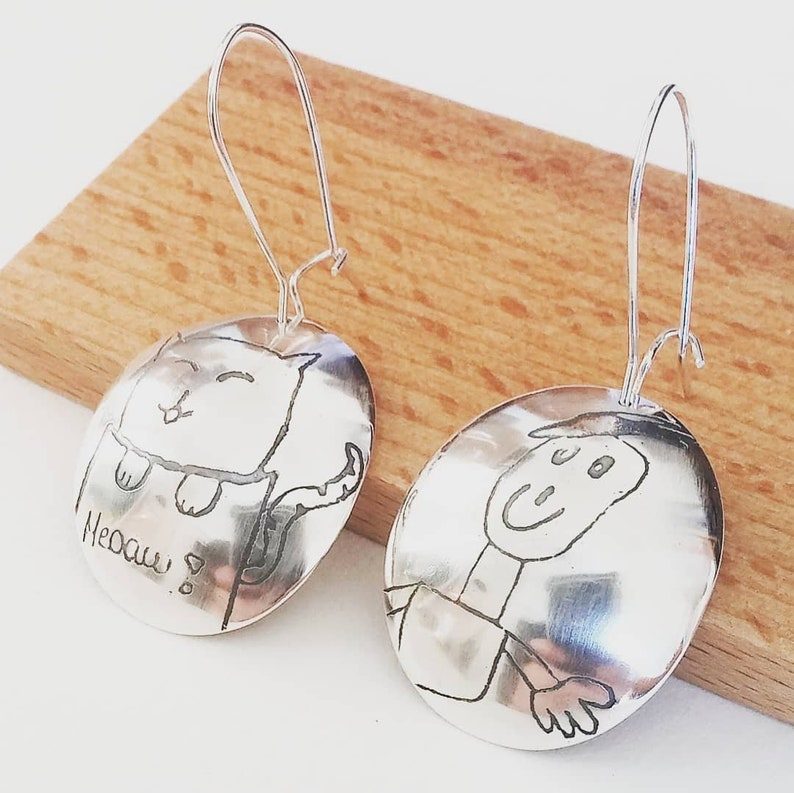 Drawing kid on jewel  Custom silver earrings  Drawing image 0