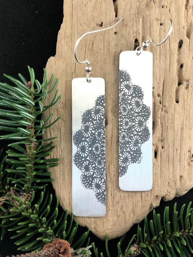 Drop earrings pendant lace engraving silver  Dangle lace image 0
