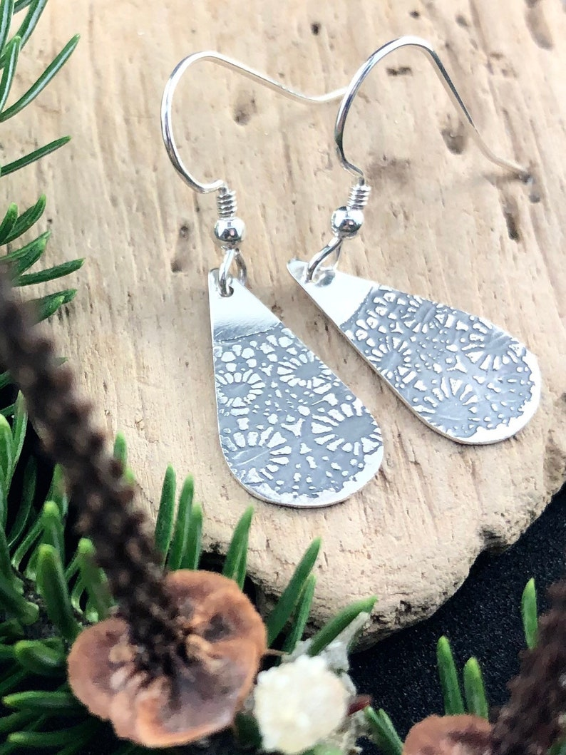 Lace Earrings Silver  Doily pendant Earrings Silver  Lace image 0