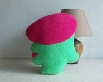 Shaped pillow,  silhouette pillow, pop art pillow, womans head, woman pillow, female decor, womens pillow, profile pillow, green pink
