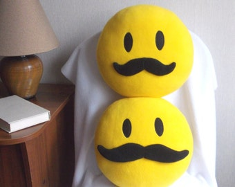 mustache mustache smiley face mustache smiley mustache emoji pillow smiley face with mustache round yellow pillow model 1 model 2