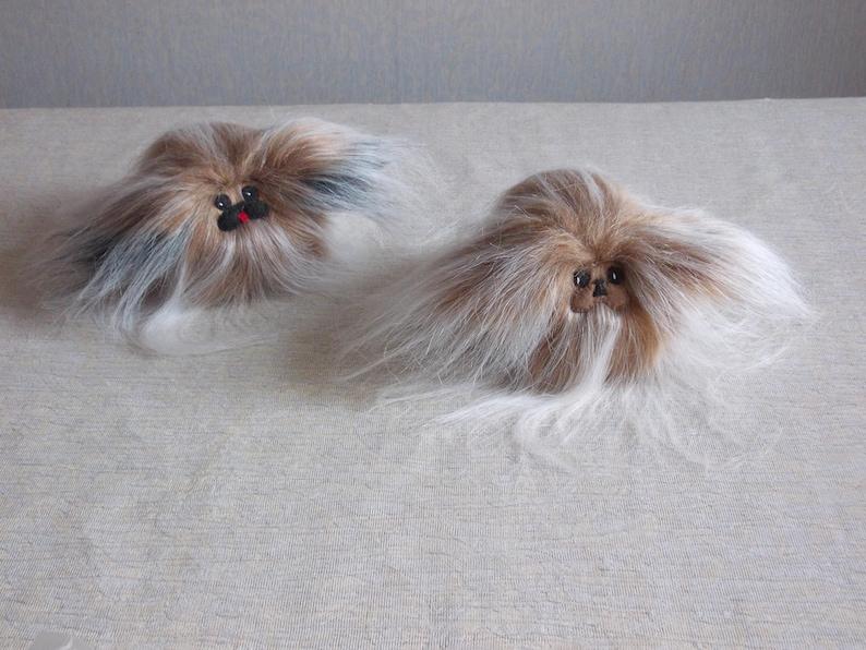dog furry stuffed dog stufed fluffy animal pekingese gift cute plushies dog plush Pekingese plush toy BEIGE LONG FUR small toy