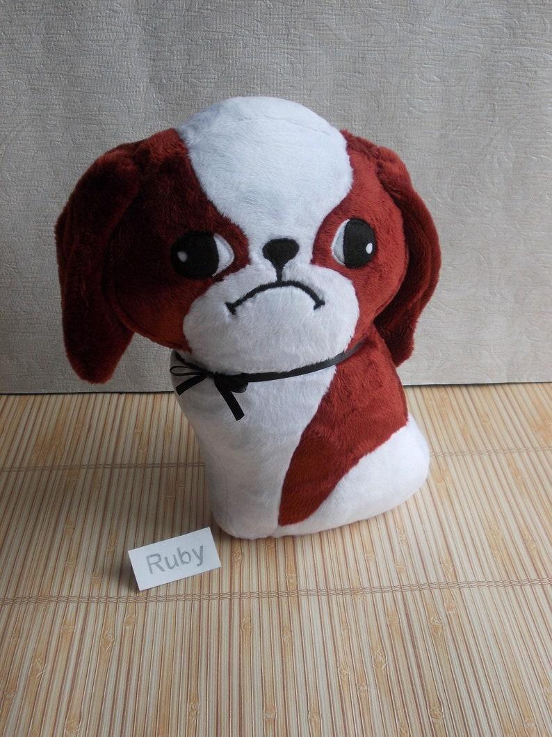 stuffed animal Red dog Japanese Chin plush Red Chin dog plush dog Ruby named Japanese Chin Shih Tzu Chin Dog Japanese Chin gift