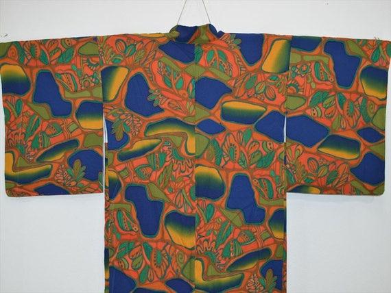 Tropical N43e Blue Navy JACKET Kimono Unique Flower 7wXag