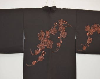 HAORI JACKET T62e - Embroidered Black Grape Leaf