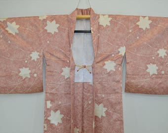 HAORI JACKET O60e - Pink Beige Autumn Leaf