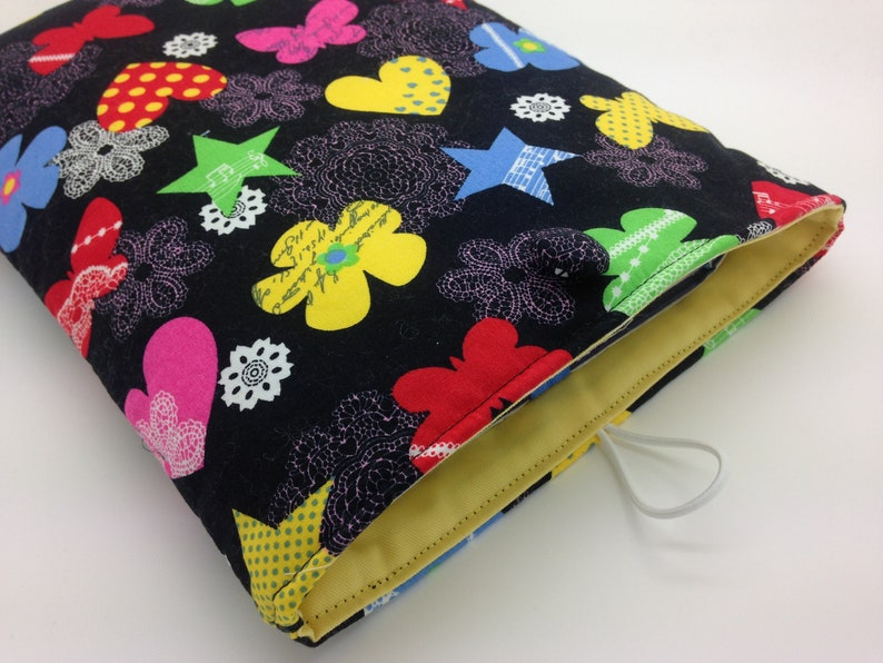 Funky Flowers Book Sleeve, Book Pocket, Padded Fabric Pouch, Book Jacket,  Book Cover, Tablet Sleeve, Bookish Gift, Book Protector, Book Nerd