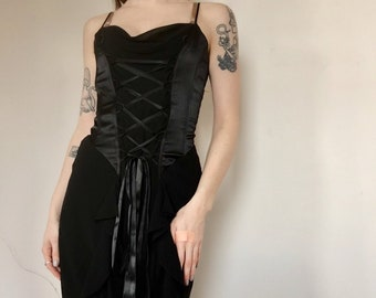 e4ac5981186e Vintage Goth MINIMAL Corset 90s Fiesta Lace Up Bodice Dress Grunge Black  Floor Length Boho Prom Retro Evening Gown Dress VTG Size Small