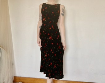074a447257596 Vintage 90s Goth Red Floral Overlay Black Rayon Detail Y2K 2000s  Christopher & Banks Mid-Length Womens Crepe Dress Evening Gown Size Small