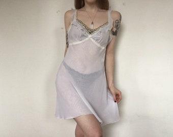 80s Nightgown Slip Dress Pastel BABY GREY BLUE Sheer Lingerie Babydoll Midi  Nylon 1970 Vintage Medium Jonquil by Diane Samandi Neiman Marcus d49deacde