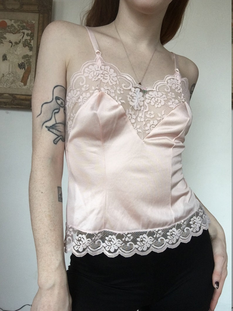 b6082098f29f05 Camisole Lingerie Top 80s Sheer Pastel Pink LACE Tank Top Cami