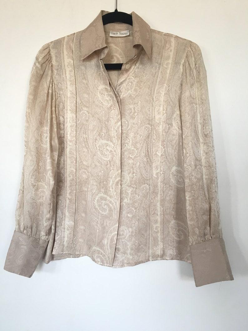Vintage 90s Unisex Frank Young SILK Beige Shiny Jacquard Print Button up Womens 80s 90s Retro 70s Blouse Top Size 6
