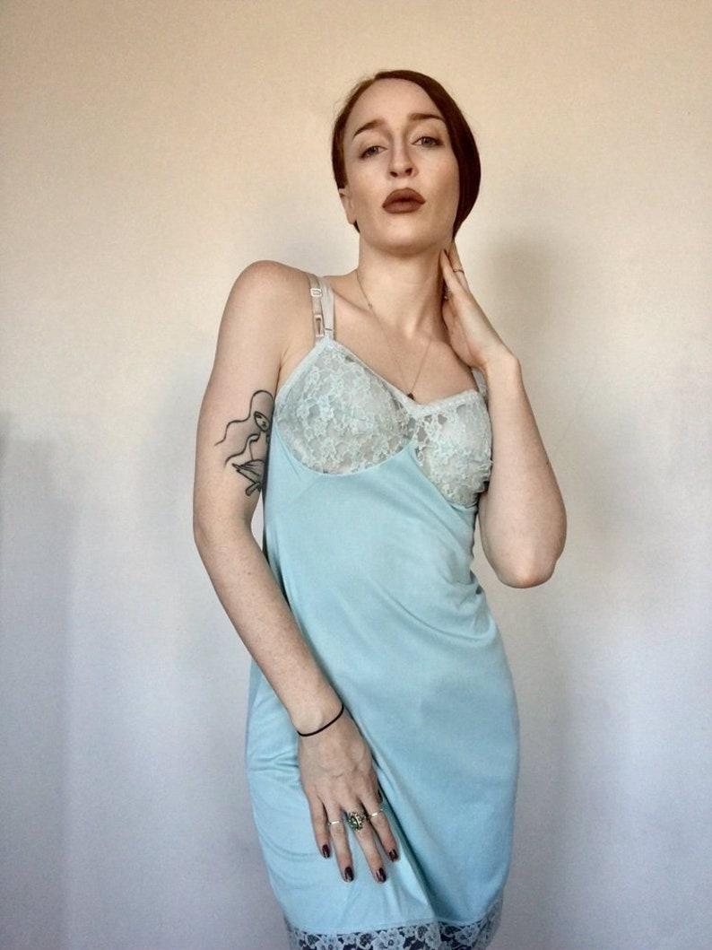 da7e50e9756 Pastel Mint Blue Floral Lace Sears VTG Chemise Nightgown 90s