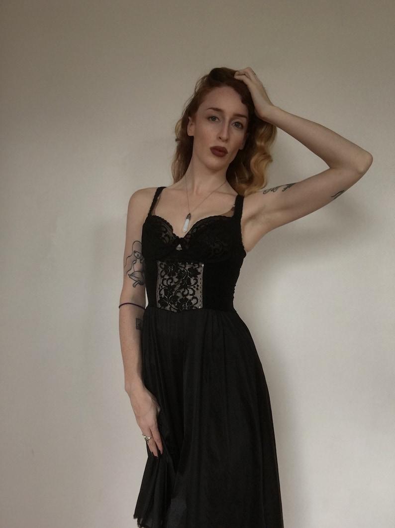 536f42fa9a4e Lace Nightgown Black Slip Dress 80s Maxi LACE Boho Sheer   Etsy