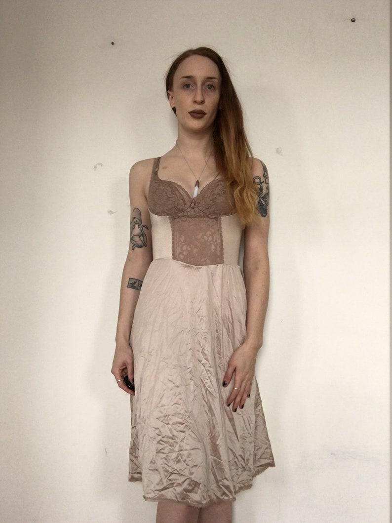 dfb38c2c864b Nightgown Nude Beige Slip Dress 80s Maxi LACE 90s Boho Sheer   Etsy