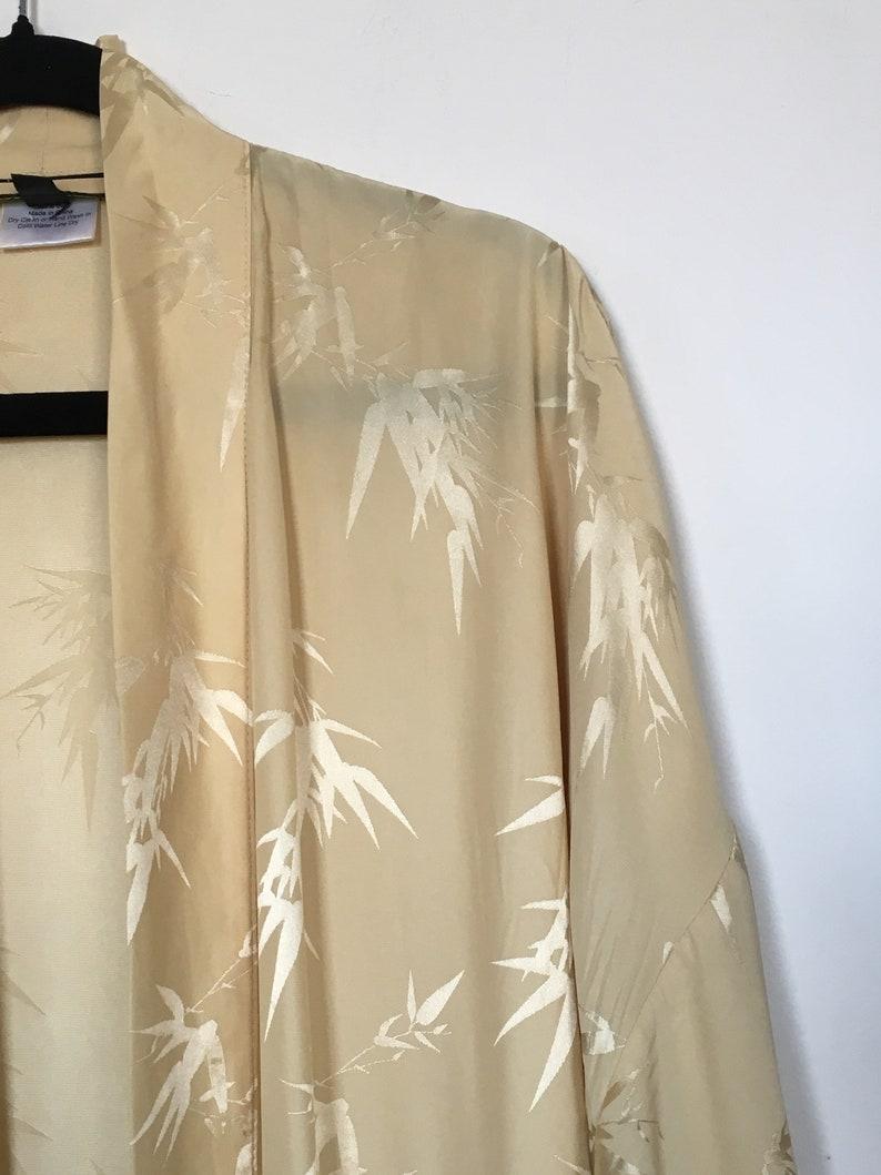 Vintage Yellow Gold 70s La Vie en Rose Ox Blood Soft Silk Red Robe Slip Lingerie Women/'s Robe Kimono Dress Size SM