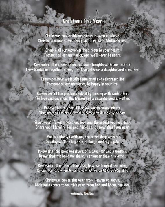 Boże Narodzenie Wiersz Wydruku Dla Tych Którzy Stracili Ich Mama Lub Babcia 8 X 10 Boże Narodzenie Bez Mama Boże Narodzenie Ten Rok Wiele Kolor