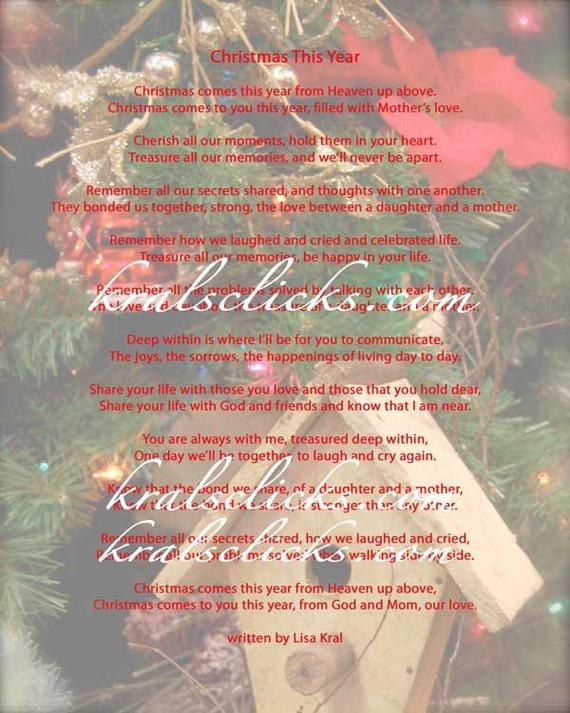 Weihnachten Gedicht Drucken Für Diejenigen Die Ihre Mutter Oder Oma 8 X 10 Weihnachten Ohne Mom Weihnachten Dieses Jahr Verschiedene Farbe Digitale