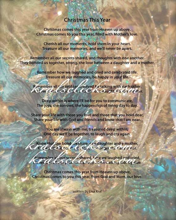 Weihnachten Gedicht Drucken Für Diejenigen Die Ihre Mutter Oder Oma 5 X 7 Weihnachten Ohne Mom Weihnachten Dieses Jahr Verschiedene Farbe Digitale