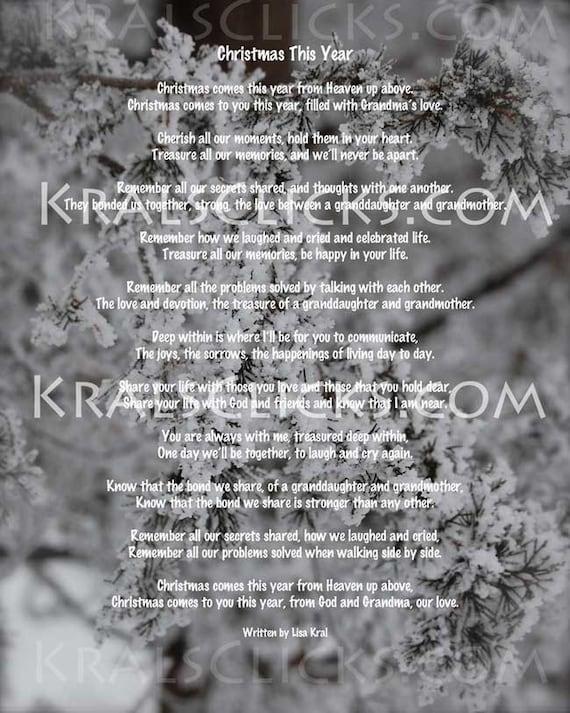 Wonderbaarlijk Kerst gedicht voor degenen die hebben verloren hun oma of   Etsy YE-49