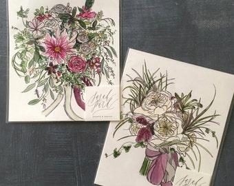 "8x10"" Custom Bouquet Paintings"