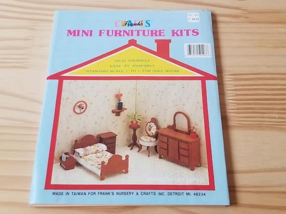 Dollhouse Bedroom Furniture Kit, Die Cut Wood Sheets