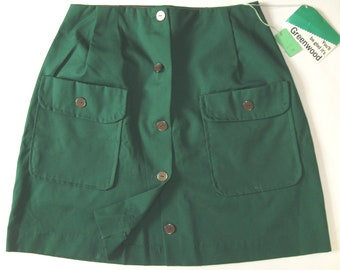 fcf2dc7b843 GREEN MINI 1960s-70s vintage Greenwood button-front skirt with pockets made  in USA size small dead stock