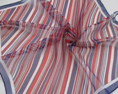 BURMEL STRIPED SCARF 1970s vintage red white and blue chiffon square hand rolled in Japan