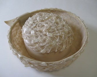 BRETON HAT 1960s vintage natural beige with ribbon size small ef782681630