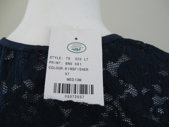 STRETCH LACE TOP 1990s vintage Laura Ashley navy … - image 4