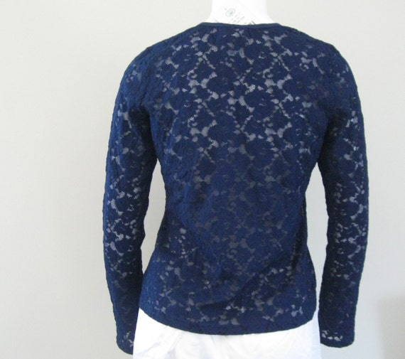 STRETCH LACE TOP 1990s vintage Laura Ashley navy … - image 3