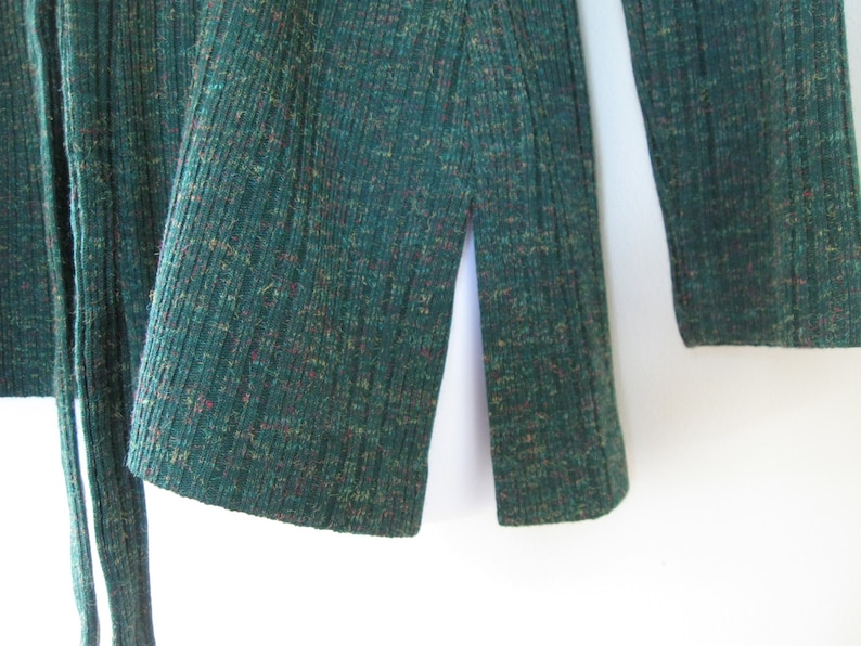 GREEN TUNIC new old stock 1970s vintage heathered knit pullover top with collar and optional tie belt made in USA size medium