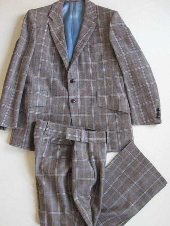 PLAID WOOL SUIT 1970s vintage Baron's mod jacket a