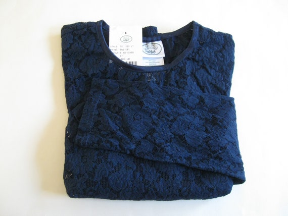 STRETCH LACE TOP 1990s vintage Laura Ashley navy … - image 6
