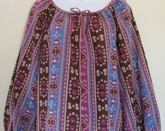 Purple peasant top, NOS 1970s vintage boho print blouse, hippie style, De Luxe, USA, size small