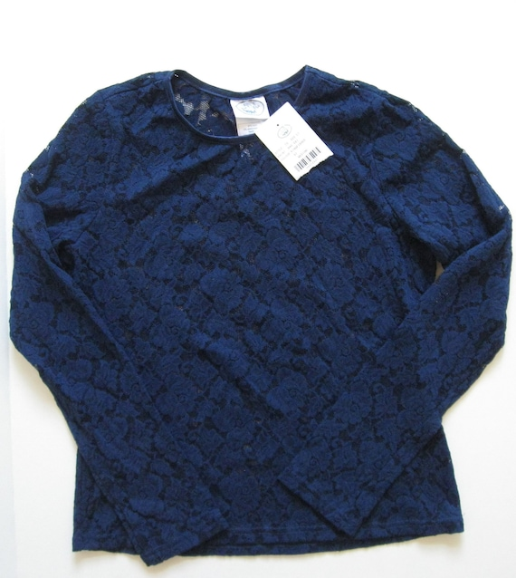 STRETCH LACE TOP 1990s vintage Laura Ashley navy … - image 1