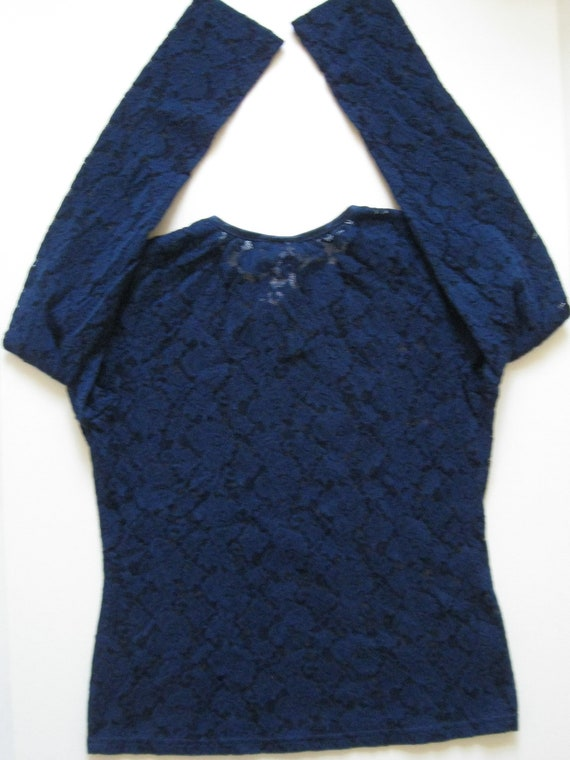 STRETCH LACE TOP 1990s vintage Laura Ashley navy … - image 5