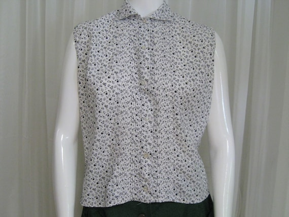 ROCKABILLY BLOUSE 1960s vintage Couture ditsy pri… - image 5