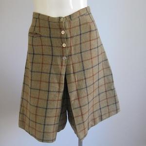 Vintage Plaid Collocks Skort Kilt Front Shorts Mid Century Retro Resort School Office Cottage Chic Rustic Cabin Woodland Ethnic Wool