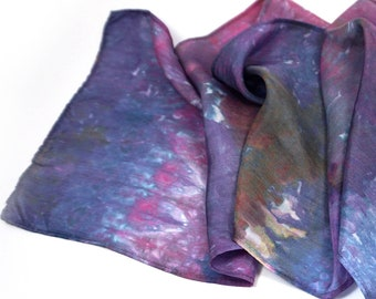 Purple Silk Scarf Silk Hair Scarf Womens Head Scarf Summer Hair Band for Women Headscarf Mid Century Retro Rockabilly 1950s Dress 50s Dress