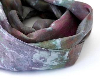 Silk Scarf Sapphire Blue Scarf Ocean Print Purple Scarf Lavender Headwrap Fuschia Headband Violet Head Wrap Sari Silk Ribbon Silk Bracelet