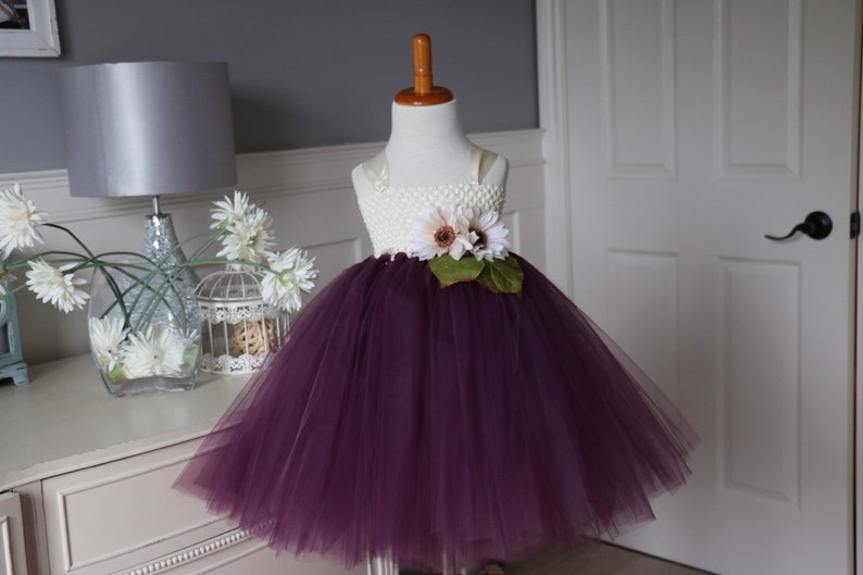 Ivory & Eggplant Tutu Dress  beige flowers image 0