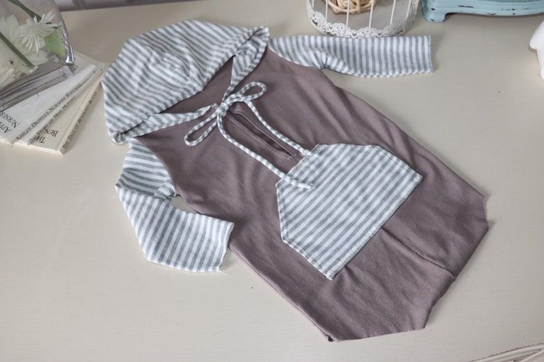 Sale  Sitter Boy Romper   gray and striped hoodie romper image 0