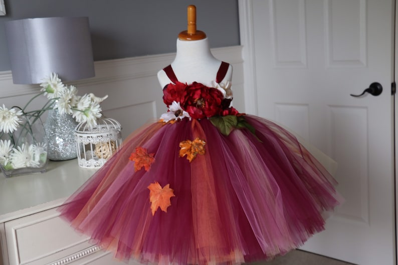 Autumn Tutu Dress  fall tutu dress  burgundy tutu dress image 0