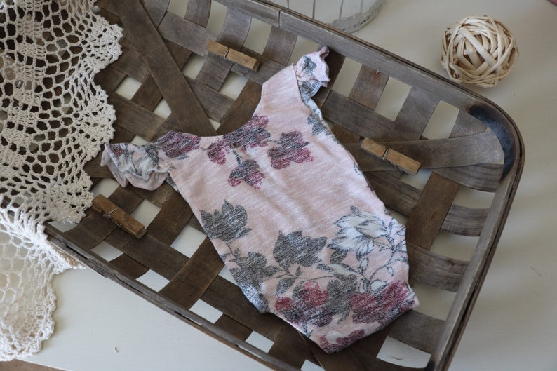 Newborn romper   pale pink and gray floral romper with image 0