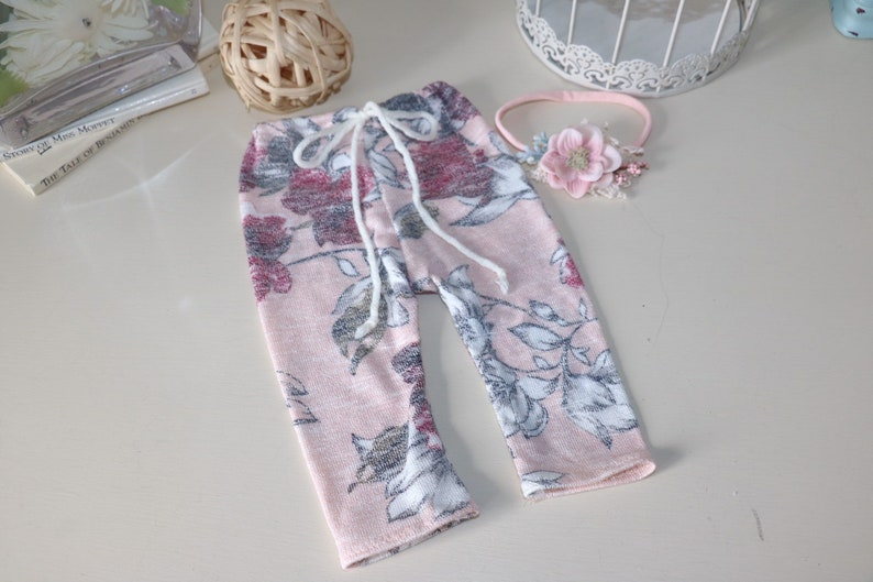 newborn pant  soft pink floral pants with headband image 0