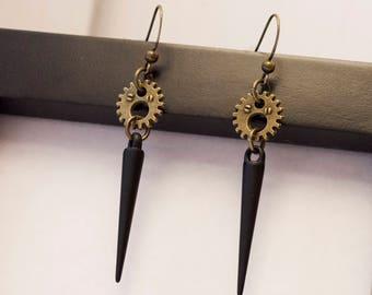 Black Spike and Gear Steampunk Earrings