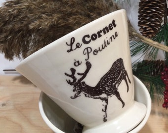 Ceramic vintage  poutine Bowl or with special cheese Quebecer recipe